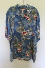 Caribbean Joe Hawaiian Shirt Blue w/ Beige Brown Rose White Flowers XXL Preowned