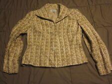 TALBOTS MARRONE BEIGE giacca in tweed taglia 6 piccoli FODERATO