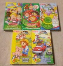 Lot of 5 FISHER PRICE LITTLE PEOPLE Vhs Videos Vol. 1 2 3 Farm Animals VEHICLES