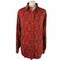 Vintage M&S Size 14 16 Red Long Sleeve Paisley Blouse Shirt Cotton Modal