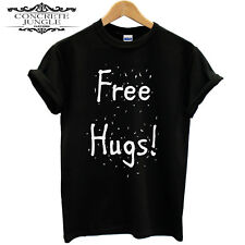 FREE HUGS FUNNY FESTIVAL HIPPY ECSTASY LOVE T SHIRT GIFT TEE