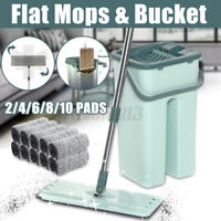 Flat Squeeze Mop And Bucket Hand Free Wringing Floor With 10 Cleaning Pads