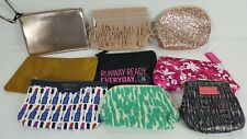 9 Mixed Lot of Cosmetic Bags All Different Glam Bag Pouch Zipper Makeup