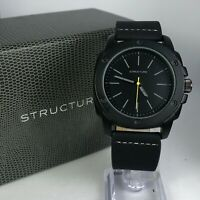 Vintage Structure Mens 62047 Black Band Stainless Steel Quartz Watch
