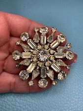 Vintage Silver Tone White Rhinestone Brooch Pin Jewelry Signed Weiss L149