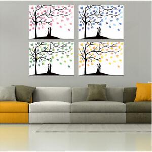 Fingerprints Tree Proboths Creative Diy Guest Signature Sign-In Book Canvas N3