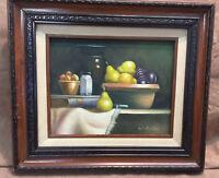 Vintage Original Artist Signed Still Life Fruit Oil Painting