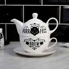 Alchemy England Gothic Bone China 3-teiliges Tee Set Tea for One: Purrfect Bräu