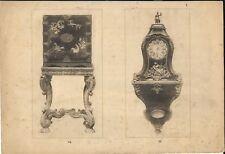 Stampa antica TAVOLINO OROLOGIO CINESE CINA CHINA 1920 Old Antique print T 74-77