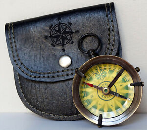 """Antique Vintage Brass Ship Boston Working 2"""" Compass With Black Leather Case"""