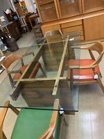 BEAUTIFUL GRAIN Mid-Century Modern Brazilian Rosewood Danish Glass Dining Table
