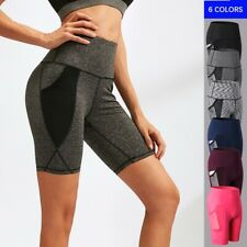 Women High Waist Running Shorts Outdoor Mesh Quick Dry Fitness Yoga Pants 2024