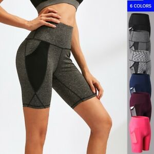 Women High Waist Running Shorts Outdoor Mesh Quick Dry Fitness Yoga Pants 2024
