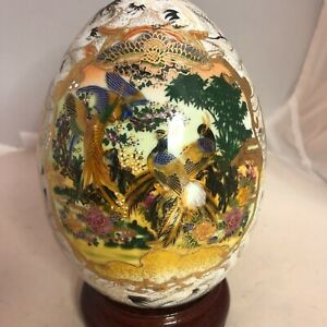 "Moriage Style Porcelain Egg with Stand Gold Details Peacocks Birds Flowers 6""x5"""