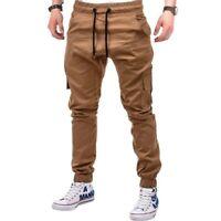Men's Multi-Pocket Elastic Waist Cargo Pants Sweatpants Biker Drawstring Trouser