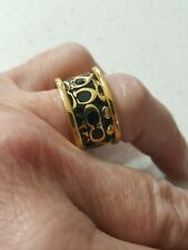 BEAUTIFUL COACH ENAMELLED WIDE BAND RING GOLD/BLACK SZ 7