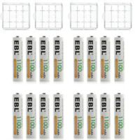 16PCS EBL 1100mAh AAA Ni-MH Rechargeable Battery for Flashlight Toy + 4 Case Box