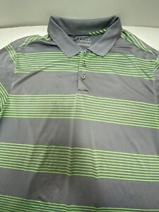 Under Armour Heat Gear Loose Fit MenXLARGE  Green Striped Golf Polo Shirt