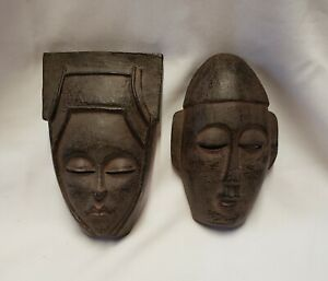 "Set of 2  Brown Mask Decorative Wall Art Decor 6"" x 3 3/4"""