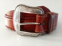"Nocona Men's 34 Genuine Leather Western Belt Silver Tone Buckle Tan 1 3/8"" Wide"