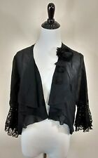Antique Black Sheer and Lace Blouse Shawl Handmade Bell Sleeve Early 1900s