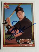 1991 Topps Traded Steve Decker RC Autograph Card Giants Auto Marlins Signed 29T