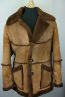 Anonymous Toasted Suede Leather Fur Sheepskin Shearling Bane Coat Sz 44