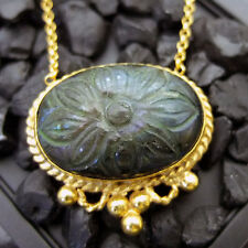 Handmade Natural Carved Labradorite Necklace 22K Gold Over 925K Sterling Silver