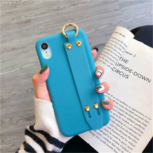 Cute Solid Strap Protective Phone Case Covers For iPhone XS XR X 8 7 6 6S Plus