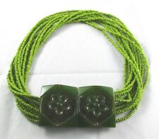 """Vintage Green 11 Strand SEED BEAD NECKLACE with Green BAKELITE Carved Clasp 19"""""""