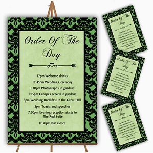 Green Black Damask & Diamond Personalised Wedding Order Of The Day Cards & Signs