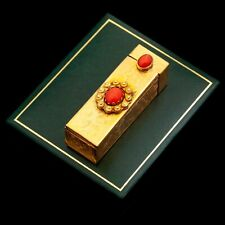 Antique Vintage Deco Sterling 800 Silver Gold Italian Red Coral Lipstick Holder