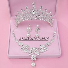 Wedding New Crystal Tiara Crown+Necklace+Earrings Set Handmade Bridal Accessory