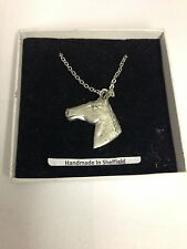 Horse Head E09 Horse & Equestrian Emblem on Silver Platinum Plated Necklace 18""