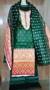 shalwar kameez pakistani indian ladies lawn summer suit 3 pice unstitched green