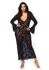 Leg Avenue 86102 Morgenmantel Schwarz S-XL String Spitzen Robe Lang Kimono Damen