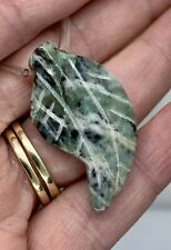 Green Moss Agate Carved Leaf bead 32x18mm