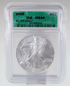 2005 $1 American Silver Eagle Graded by ICG as MS-69