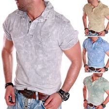 Herren T-Shirt Polo Shirt Sommer Top Party verwaschen Batik washed M-L-XXL-4XL