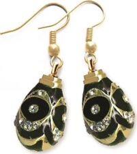 Faberge Egg Earrings with crystals 1.6 cm black #0848