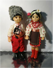 "Vintage Ukrainian or Soviet Era Hard Plastic Dolls, 10"" Traditional Clothing"