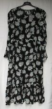 LADIES MARKS AND SPENCER BLACK WHITE AND BLUE FLORAL  MIDI DRESS SIZE 16