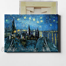 Hogwarts Castle Starry Night Over the Rhone Canvas Stretched Art Harry Potter