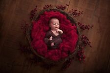 Baby Burgundy Basket Filler Suffer Newborn Photography Prop RTS UK seller
