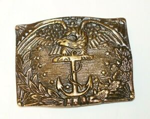 Antique Style Civil War Marine Belt Buckle Military Solid Brass Eagle Anchor