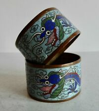 PAIR OF OLD CHINESE CLOISONNE NAPKIN RINGS - 5 CLAWED IMPERIAL DRAGON DESIGN