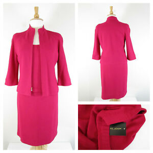 St. John Collection Plus Size Pink Magenta Santana Knit 3 Piece Skirt Suit 14 L