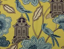 BRAEMORE EMPERORS GARDEN CHARTREUSE Yellow Bird Multiuse Linen Fabric BY YARD
