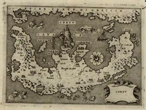 Corfu Greek Island Greece w/ Sea Monsters ca. 1595 Porcacchi Porro antique map