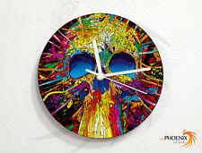 Colorful Artistic Skull Design - Splatter Art - Day of the Dead - Wall Clock